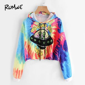 ROMWE Tie Dye Water Color Graphic Print Crop Hoodie Women Casual Autumn Hooded Tops Long Sleeve Sportswear Drawstring Sweatshirt