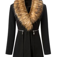Black Faux Fur Collar Zipper Designed Coat