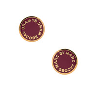 Marc by Marc Jacobs Logo Disc-O Enamel Logo Disc Studs in Garnet