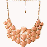 FOREVER 21 Dazzling Faux Stone Bib Necklace Peach/Gold One