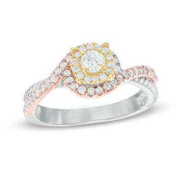 1/3 CT. T.W. Diamond Layered Frame Swirl Engagement Ring in 10K Tri-Tone Gold - Save on Select Styles - Zales