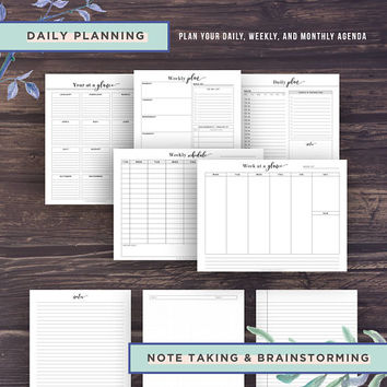 Student Planner 2017-2018, Academic Planner Printable, College Student Planner, Back to School Agenda, High school, Project, A5, Half Size