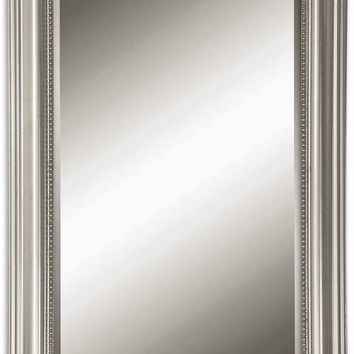 Stuart Silver Leaf Beaded Beveled Wall Mirror by Uttermost