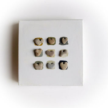 Unique Valentine's Day gift - OOAK MINI House Blessings - genuine Heart shaped Beach stones rocks