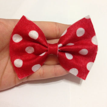Red and White Polka Dot Felt Hair Bow on Alligator Clip - 4 Inches Wide - AFFORDABOW Line - Affordable and High Quality Hair Bows
