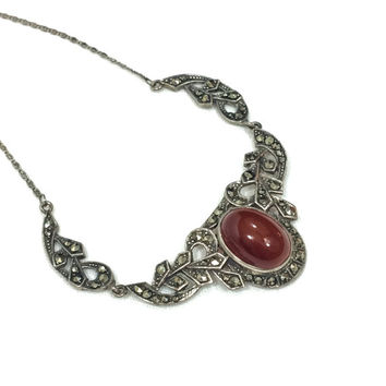 Art Deco Sterling Necklace, Sterling Silver Carnelian Marcasite Necklace, Art Deco Carnelian Choker, Vintage
