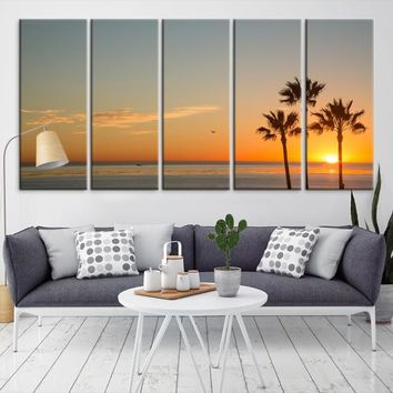 91740 - Sunset Through Palm Trees Wall Art Canvas Print