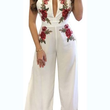 Flower Embroidery Print Scoop Backless Long Jumpsuit