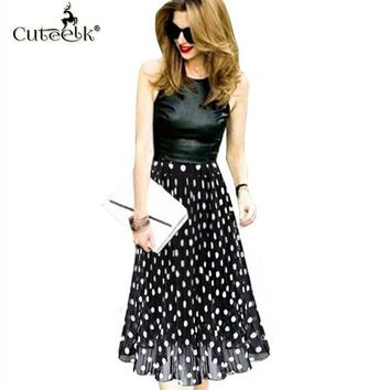 DCCKDZ2 2017 Vintage pleated skirts Polka Dot Chiffon Skirt all-match Waist Fold slim Skirts Women's waisted Midi Skirt Ukraine Black