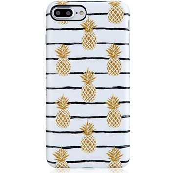 Cute iPhone 7 Plus Case Pineapples,VIVIBIN Shock Absorption Matte TPU Soft Rubber Silicone Cover Phone Case for Apple iPhone 7 Plus 5.5inch