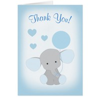 Baby Boy Shower Thank You Card Elephant Blue Gray