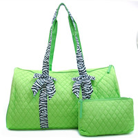 Women's Large Quilted Weekender Duffle Bag w/ Zebra Print Accent - Green Color: Green