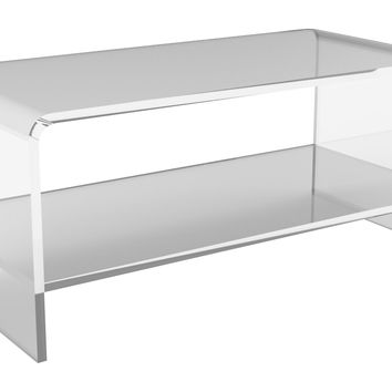 Waterfall Coffee Table w/ Shelf, Small, Acrylic / Lucite,