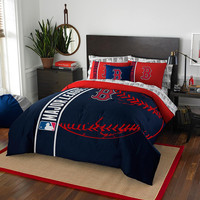 Boston Red Sox MLB Full Comforter Bed in a Bag (Soft & Cozy) (76in x 86in)