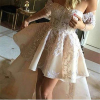 Pure White Appliques Lace Beaded High Low Prom Dress Simple Boat Neck Long Sleeve Short Prom Party Dresses Fashion Prom Gowns