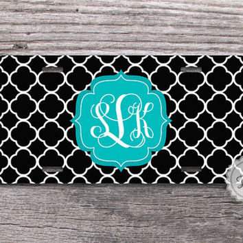 Black and turquoise monogram license plate personalized name  quatrefoil car tag - 001