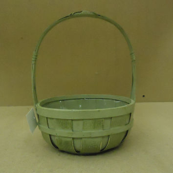 Designer Flower Basket 12in H x 8in Diameter Green Round Plastic Liner Wood -- New