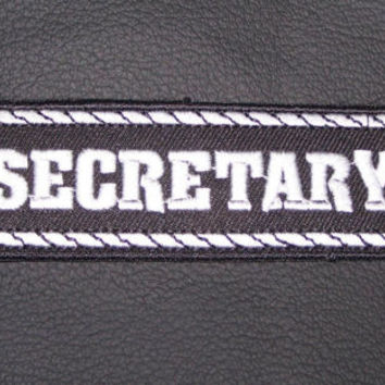 Secretary Patch Badge Emblem for Biker motorcycle Club Officer Leather vest New