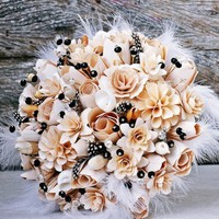 Black and Creamy White Wood Bouquet or Centerpiece | AccentsandPetals - Wedding on ArtFire