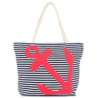 Anchor - Stitched Stripe Canvas Beach Bag - 20-1/2-in (Blue White Stripe Red Anchor)