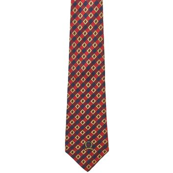 Tommy Hilfiger Checkered Wide Silk Tie - Red