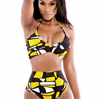 Yellow Black High-waisted Two Piece Swimsuit