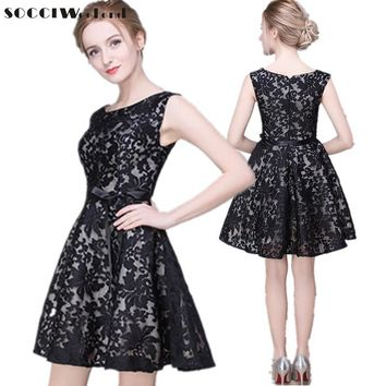SOCCI Custom made New girls Black Lace short cocktail dresses for juniors  Short Prom Dress Formal Wedding Party Gowns Plus size