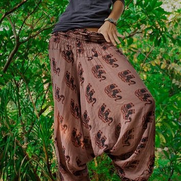 100% Cotton Handmade Fairtrade Brown Elephant Pants Trousers Harem Genie Gypsy Aladdin Ali Baba Baggy Loose Yoga Hippie Boho