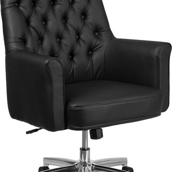 Mid-Back Traditional Tufted Black Leather Executive Swivel Office Chair with Arms [BT-444-MID-BK-GG]