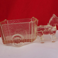 Vintage Clear Glass Horse Drawn Two-Wheel Cart Candy Dish or Container