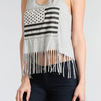 Womens American Flag Embroidered Tank Young Adults