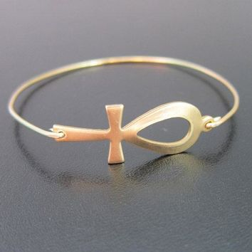 Golden / silver Color Egyptian Hieroglyphic Ankh Bangle Bracelet Gift for friend,mom Retro Beautiful Jewelry YPQ0103