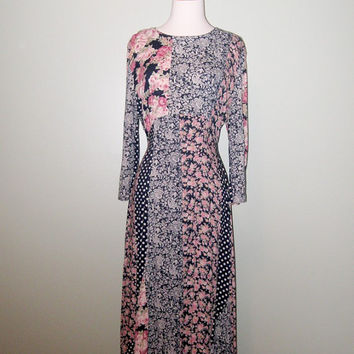 Vintage 1970s Romantic Black Pink Floral Patchwork Maxi Dress / 90s Grunge / Maxi Dress / Small