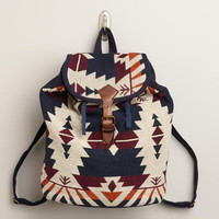 Navy and Brown Woven Backpack | World Market
