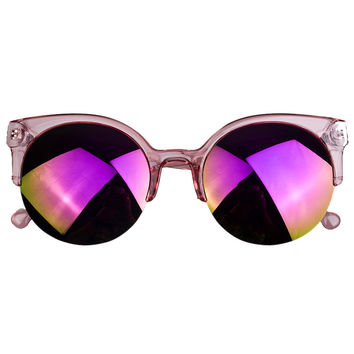 Purple Half Frame Round Sunglasses with Mirror Lens