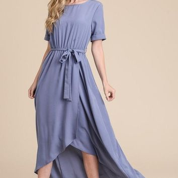 Pippa Tulip Drape Maxi Dress - Blue