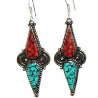 Long coral turquoise Earring