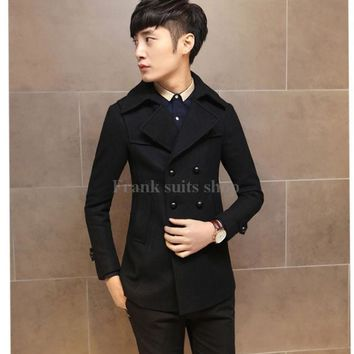 2017 Custom-made Men's Double Breasted Fit Casual Thick Lined Trench Coat Outwear Jacket Wool Blend Jacket