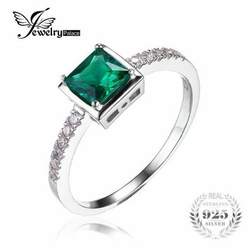 JewelryPalace Square 0.5ct Green Created Emerald Solitaire Ring Solid 925 Sterling-Silver-Jewelry Engagement Ring For Women Gift