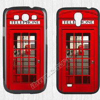 London Telephone Booth Samsung Galaxy S3 S4 Case,Vintage Red British Telephone box Galaxy S3 S4 Hard Case,cover skin Case for Galaxy S3 S4