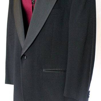 Vintage Christian Dior Monsieur Grand Luxe Black Tuxedo Jacket Blazer