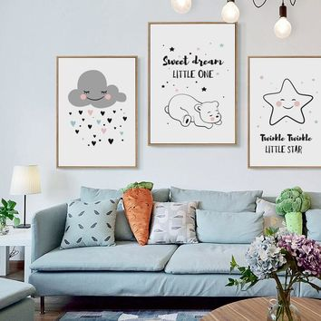 Simple And Cute Cartoon Star Rain Cloud Bear Canvas Art Painting Prints Poster Picture Wall Baby Room Child Bedroom Home Mural