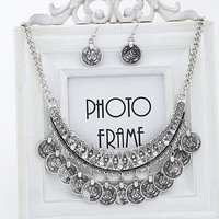 The Lowest Price 2015 Fashion Collier Femme Silver Coins Bohemian Pendant Colar Statement Necklaces and Earrings Jewelry N2172