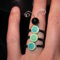 Wire Wrapped and Beaded Catepillar Three Piece MADE to ORDER Adjustable Ring