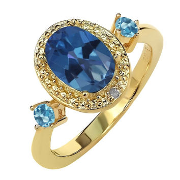 1.77 Ct Mystic Topaz Swiss Blue Topaz 18K Yellow Gold Plated Silver Ring