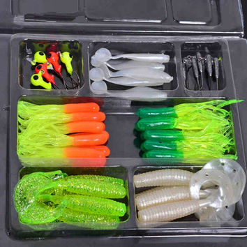 35Pcs Soft Worm Lure Carp Fishing Lure Set + 10 Lead Head Jig Hooks Simulation Suite Soft Fishing Baits Set Tackle = 1705708612