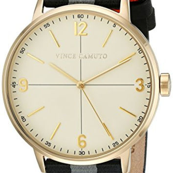 Vince Camuto Men's VC/1088BKGP Black and Grey Striped Nylon Strap Watch