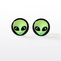 Alien Stud Earrings - Soft Grunge Alternative Fashion Jewelry