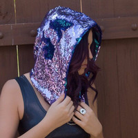 Siren Queen Sequin Assassin Rave Hood