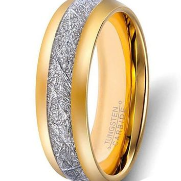 8mm Tungsten Rings Gold Plated Imitated Meteorite Inlay (14k, 18k, 24k Yellow Gold)